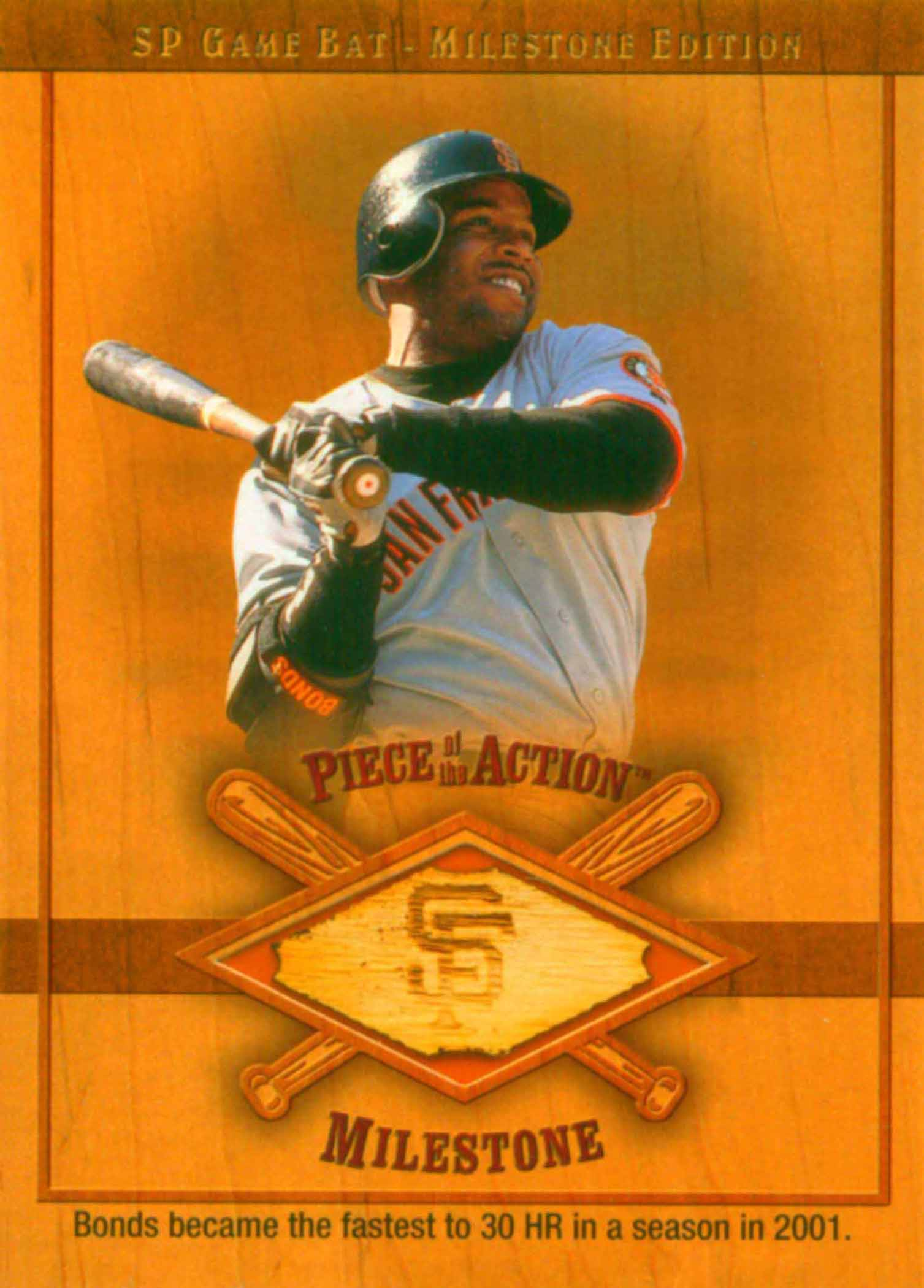 2001 SP Game Bat Milestone Piece of Action Milestone