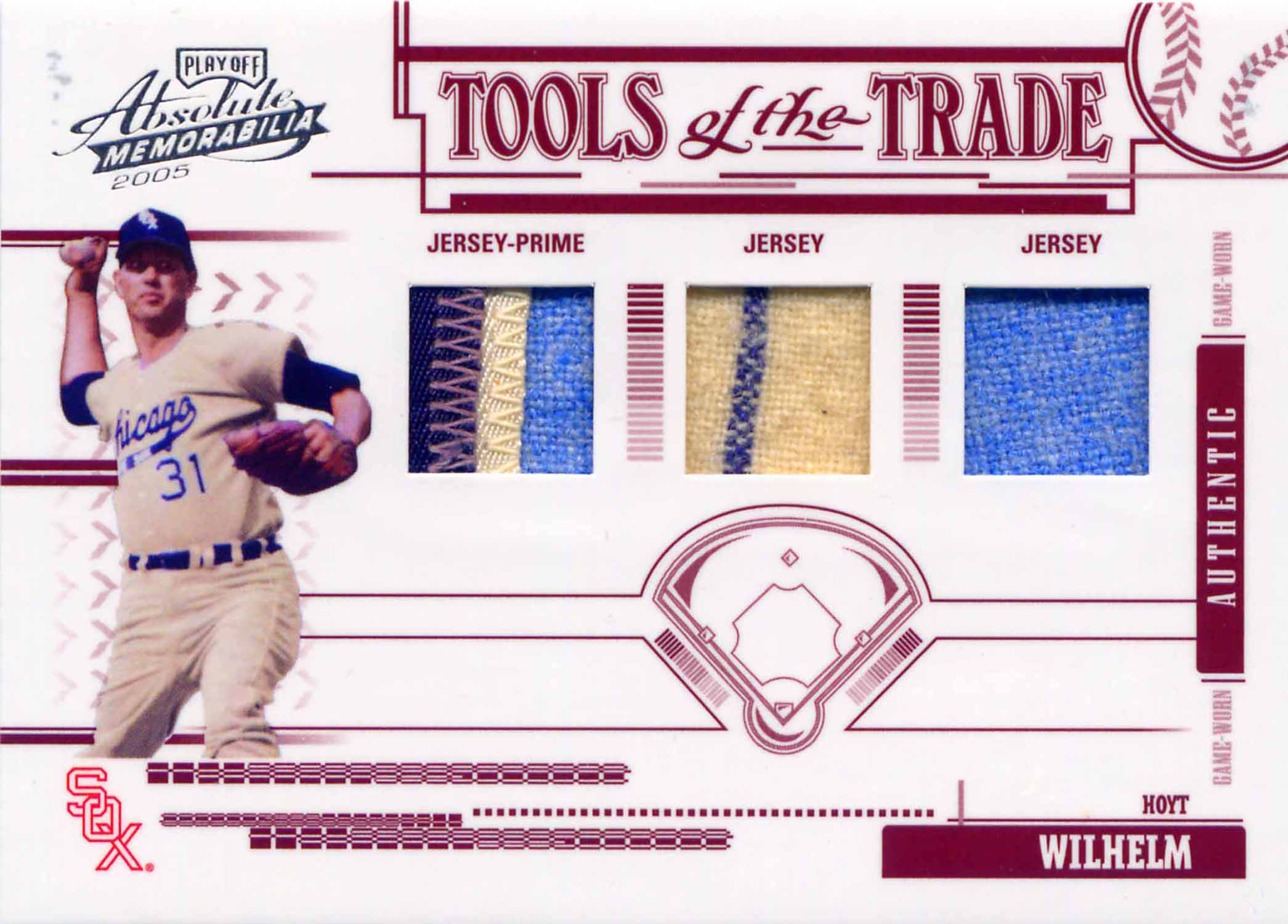 2005 Absolute Memorabilia Tools of the Trade Swatch Triple Prime Red Jerseys