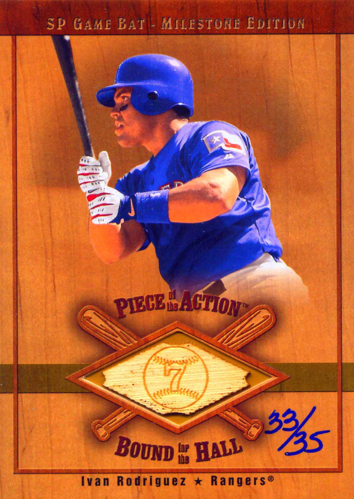 2001 SP Game Bat Milestone Piece of Action Bound for the Hall Gold