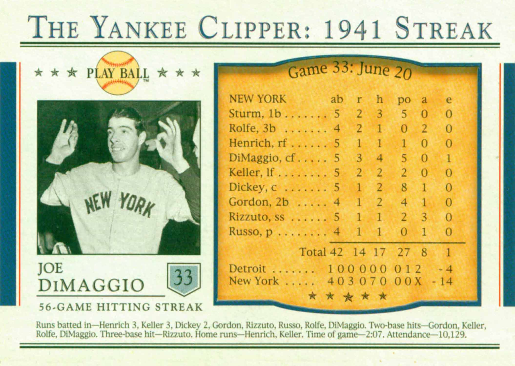 2003 Upper Deck Play Ball Yankee Clipper 1941 Streak