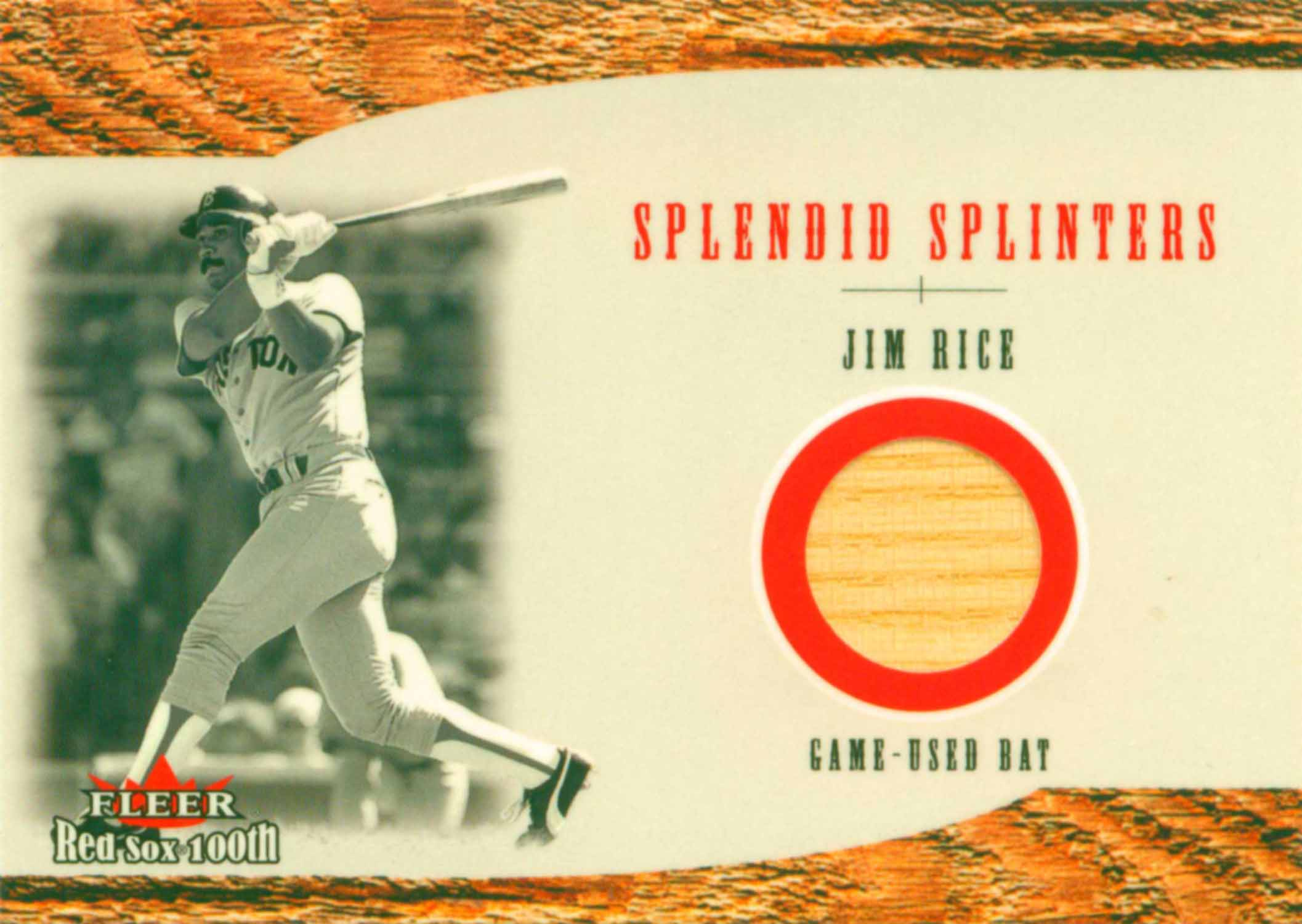 2001 Fleer Red Sox 100th Splendid Splinters Game Bat