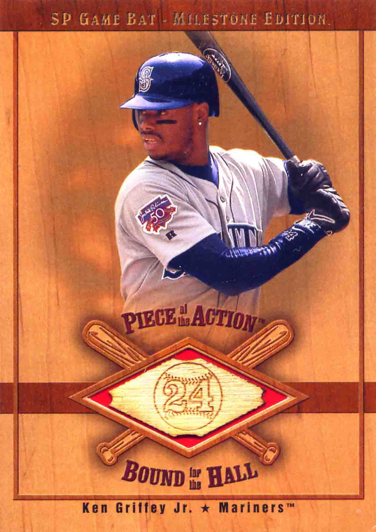 2001 SP Game Bat Milestone Piece of Action Bound for the Hall