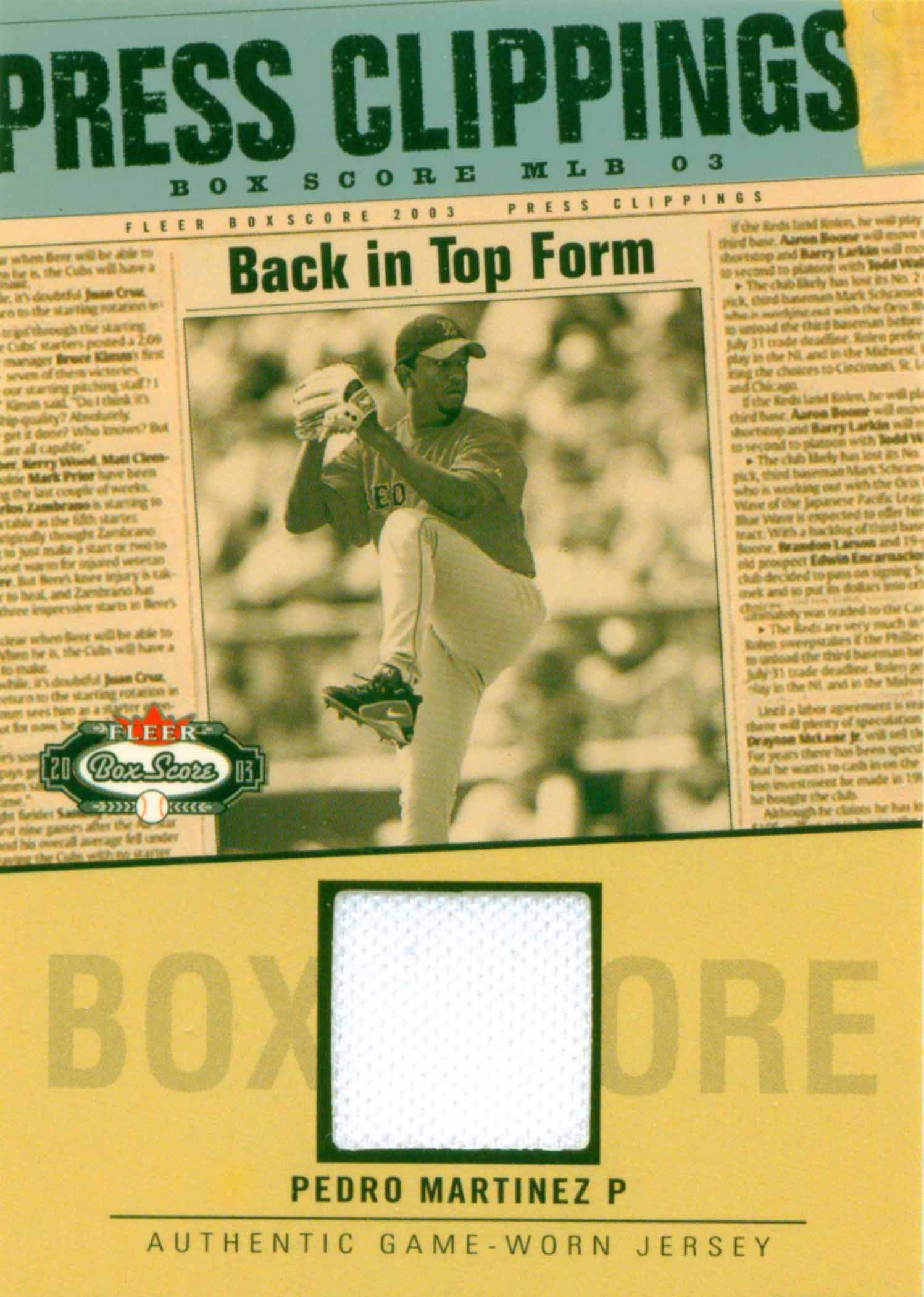 2003 Fleer Box Score Press Clippings Game Jersey